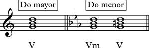 Acorde de dominante V y quinto menor Vm.