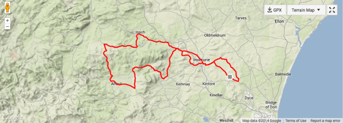 Inverurie to Suie and home cycle route