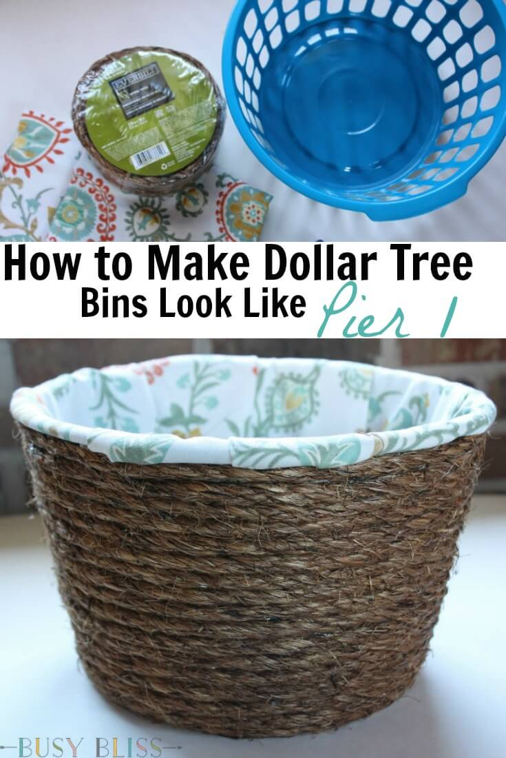 Turn Cheap Dollar Tree Storage Bins Into Lined Woven Baskets That Look Like  They Came From