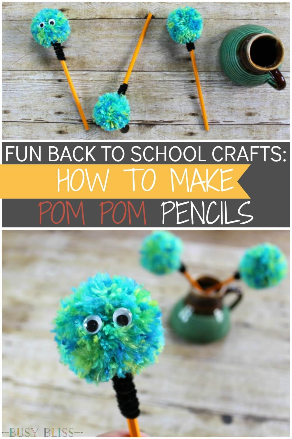 2c95c75a9c Learn how to make these fun pom pom pencils for kids! These are great if