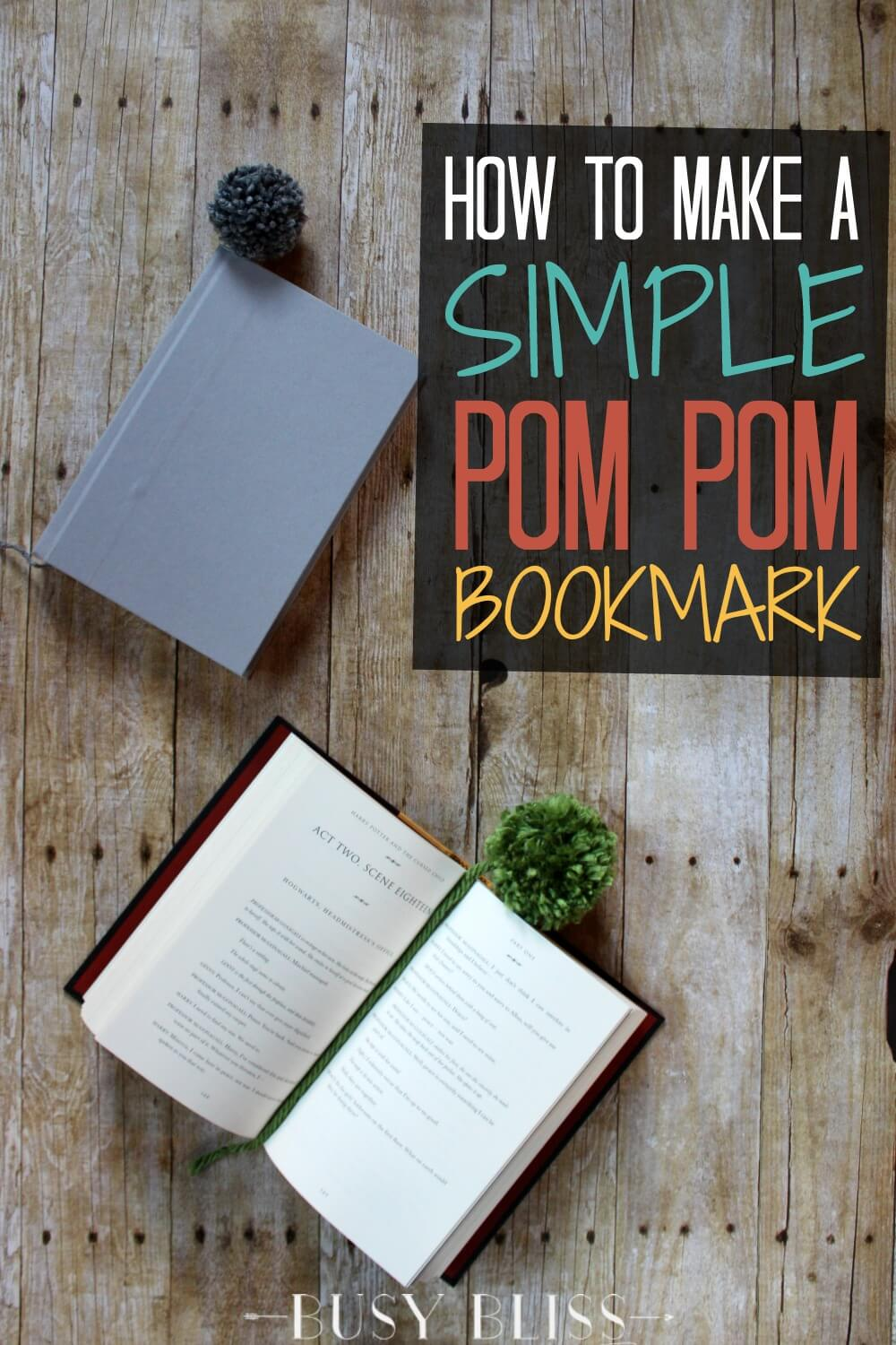 Add the perfect amount of whimsy to reading time with a DIY pom pom bookmark. This tutorial walks you through how to make this fun and simple project!