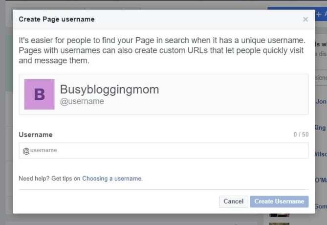 Create Page Username