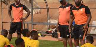 Ezema instructs players in a friendly match agsinst Remo Stars