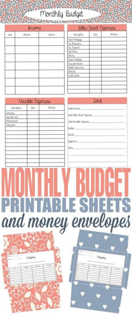 monthly bills worksheet printable