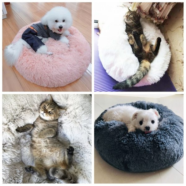 Calming Dog Pet Bet Anti-Anxiety Soothing Cat Beds - Pet Models Enjoying 2