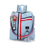 Alexandra Leather Backpack Purse Anti-Theft Convertible Bag - Blue