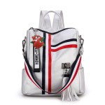 Alexandra Leather Backpack Purse Anti-Theft Convertible Bag - Silver