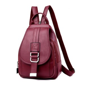 Leather Convertible Backpack Purse Anti Theft Crossbody Bag Red