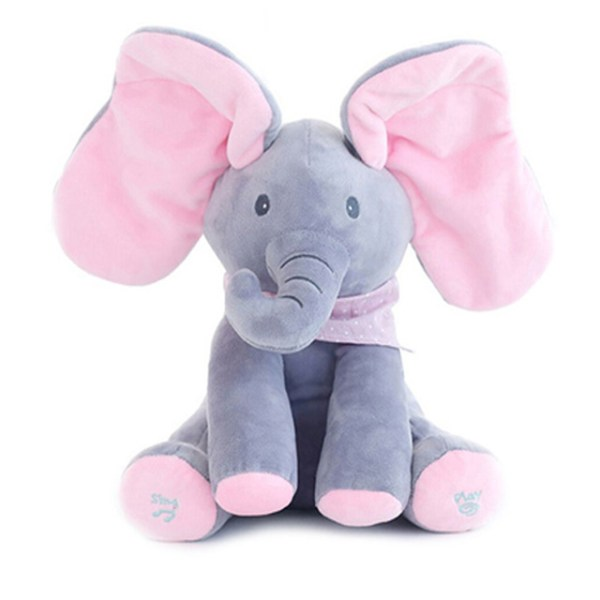 Singing Peek A Boo Elephant Plush Toy Grey Pink