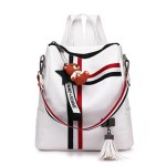 Alexandra Leather Backpack Purse Anti-Theft Convertible Bag - White