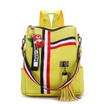 Alexandra Leather Backpack Purse Anti-Theft Convertible Bag - Yellow