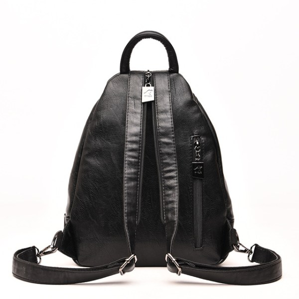 Leather Convertible Backpack Purse Anti Theft Crossbody Bag Back View Black