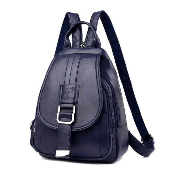 Leather Convertible Backpack Purse Anti Theft Crossbody Bag Blue