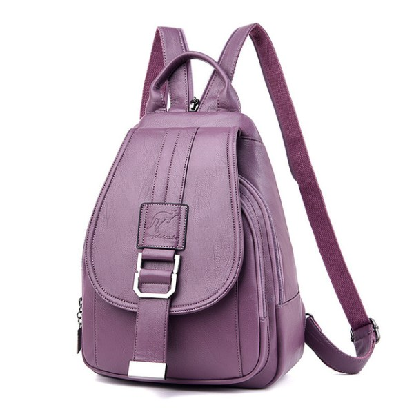 Leather Convertible Backpack Purse Anti Theft Crossbody Bag Purple