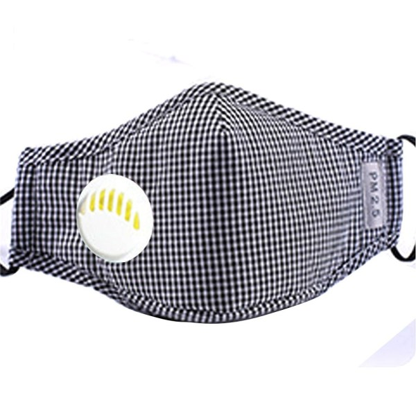 Reusable Face Mask Antibacterial Virus Protection Mask Black Checkered