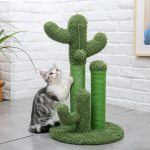 Cactus Cat Scratching Post with White Cat Model on Green Base Large