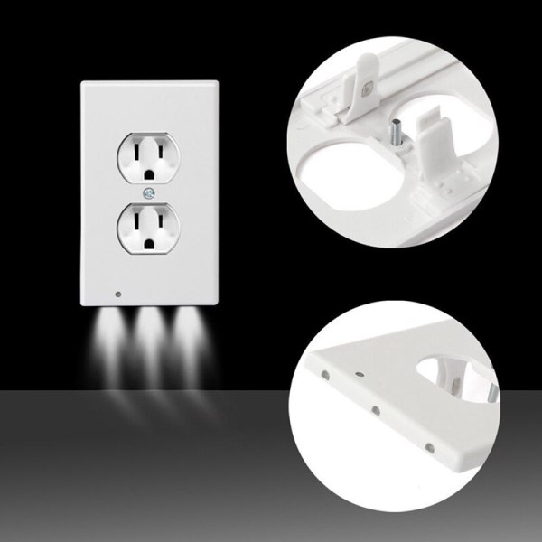 Wall Plate Outlet LED Night Light Easy Install 2