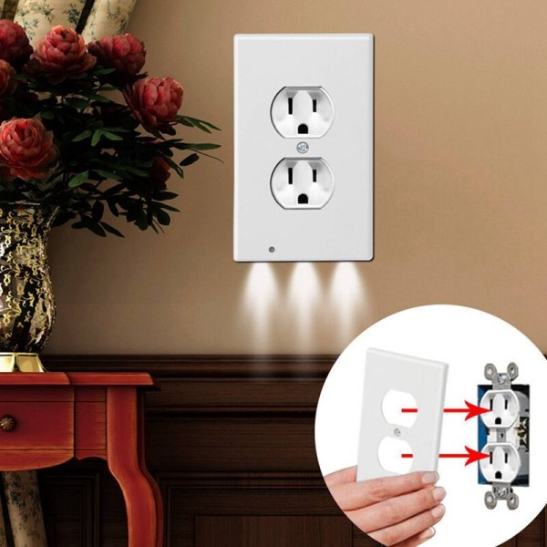 Wall Plate Outlet LED Night Light Easy to Install