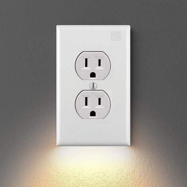 Wall Plate Outlet LED Night Light White Duplex Plate