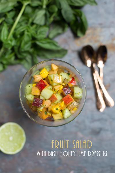Fruit Salad with Basil Honey Lime Dressing