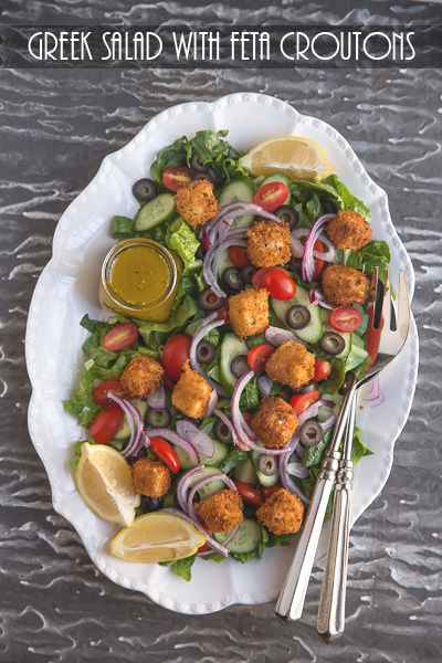 Greek Salad with Feta Croutons