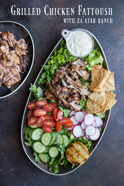 Grilled Chicken Fattoush with Za'atar Ranch