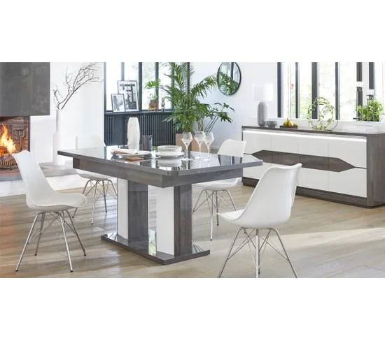 table l 160 200 allonge matera blanc imitation chene gris