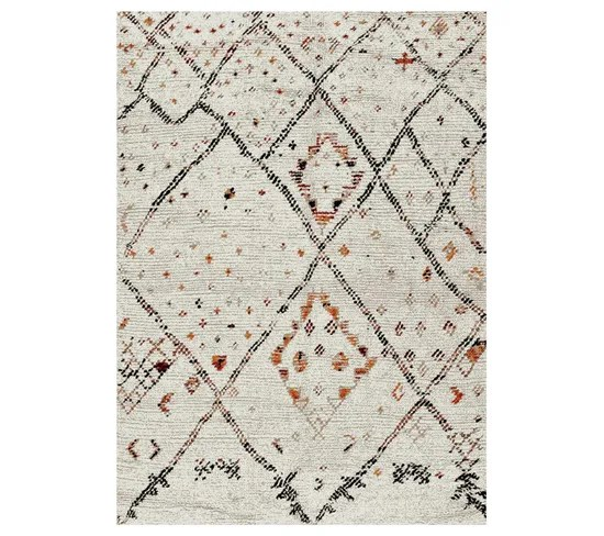 60x110 tapis style berbere rectangulaire morocco style creme
