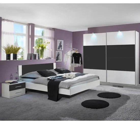 chambre adulte coloris blanc anthracite 180 x 200 cm