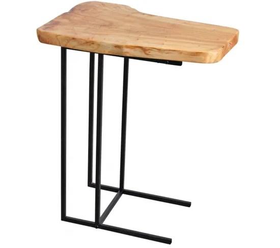 table dappoint en bois brut et metal dim 50 x 35 x 59 cm