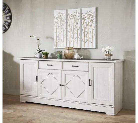 buffet 4 portes 2 tiroirs camille imitation chene blanchi gris