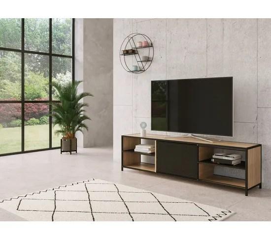 long meuble tv l 180 oskar imitation chene sonoma noir