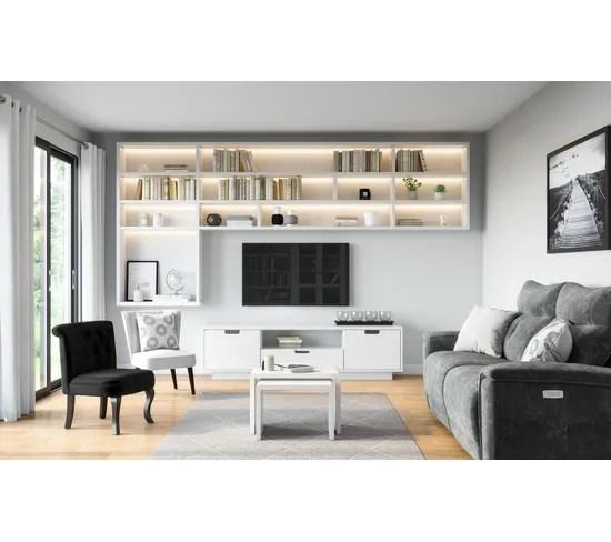 meuble tv l 198 gaston blanc blanc brillant