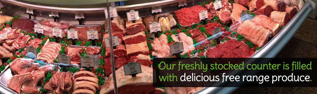 Our freshly stocked counter is filled with delicious free range produce.