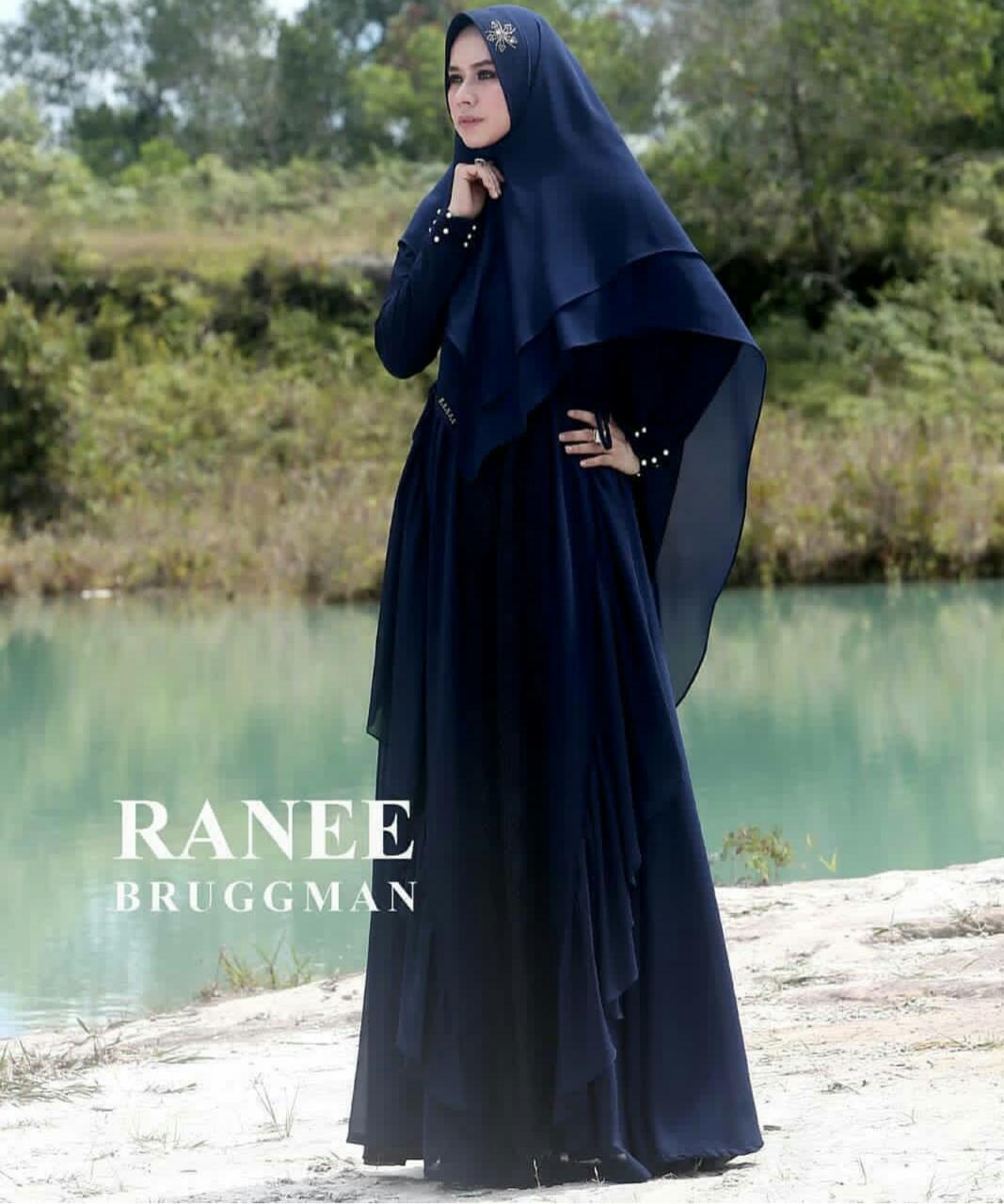 ALIYAH SYARI by RANEE BRUGGMAN Baju Gamis Syari Bahan Ceruty Mix Jersey 1 2 Warna Biru Dongker