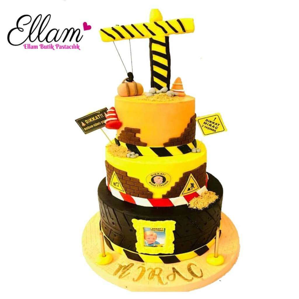 inşaat temalı vinç pasta
