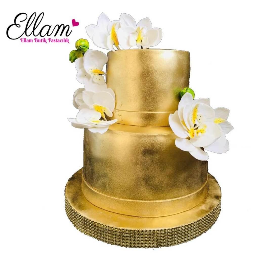 orkide çiçekli gold butik pasta