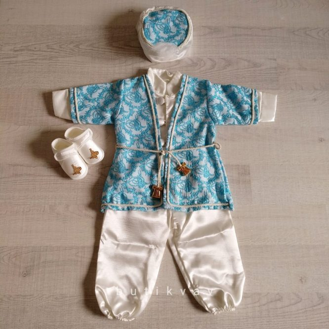 Erkek Bebek Şehzade Kaftan Mevlüt Takımı Mavi 02 - Erkek Bebek Şehzade Kaftan Mevlüt Takımı - Mavi