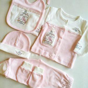 Kız Bebek kanaviçe Süslemeli 5li Hastane Çıkışı 01 - Gaye Bebe Kanaviçe Süslemeli 5'li Hastane Çıkışı