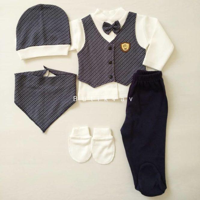 Erkek Bebek 5li Hastane Çıkışı 0 3 Ay Kopya 01 - Erkek Bebek Yelekli 5'li Hastane Çıkışı 0-3 Ay