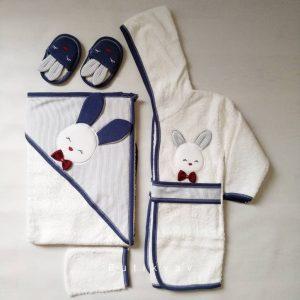 Gaye Bebe Erkek Bebek Tavşanlı Bornoz Seti mavi Kopya 01 scaled - Gaye Bebe Erkek Bebek Tavşanlı Bornoz Seti - Lacivert