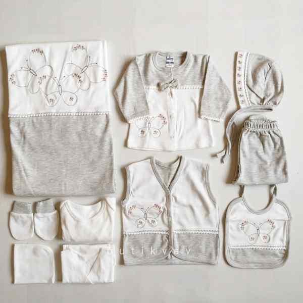 Gaye Bebe Kız Bebek Kelebek Süslemeli 10lu Hastane Çıkışı 01 - Gaye Bebe Kız Bebek Kelebek Süslemeli 10'lu Hastane Çıkışı