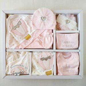 gaye bebe kiz bebek kelebek suslemeli 10 lu hastane cikisi 01 scaled - Eda Baby Balonlu Lux 10'lu Hastane Çıkışı Pembe