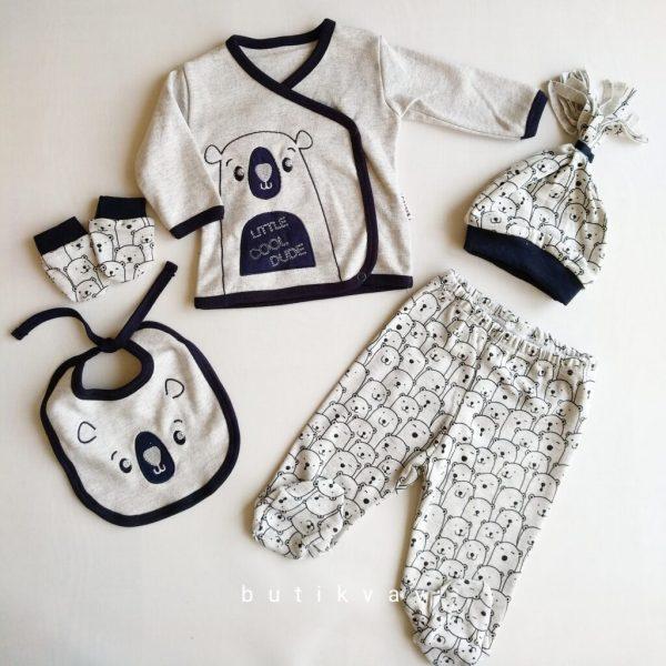 Erkek Bebek Kutup Ayısı Baskılı 5li Hastane Çıkışı 0 3 Ay 01 scaled - Erkek Bebek Kutup Ayısı Baskılı 5'li Hastane Çıkışı 0-3 Ay