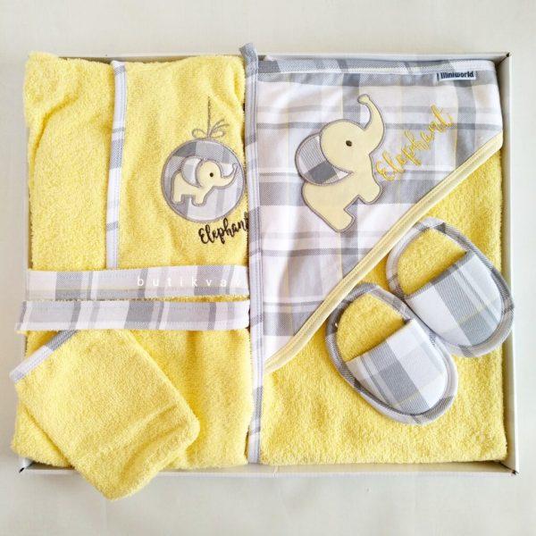 bebitof erkek bebek tavsan ailesi bornoz seti mavi 01 scaled - Miniworld Pötikareli Fil Bebek Bornoz Seti - Sarı