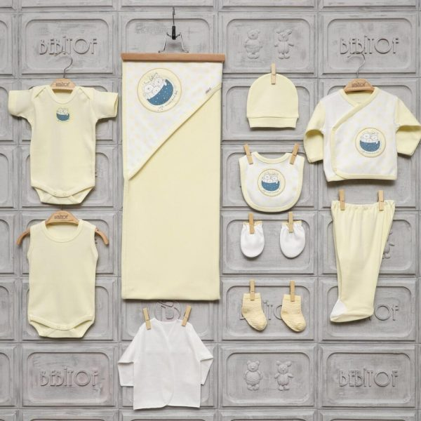 bebitof erkek kiz bebek tavsancik hastane cikisi sari 01 scaled - Bebitof Puantiyeli Ayıcık Hastane Çıkışı Zıbın Seti- sarı