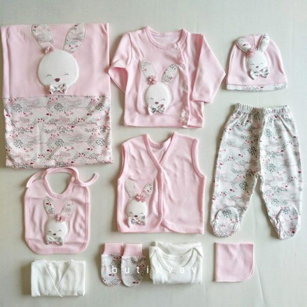 gaye bebe kiz bebek tavsan suslemeli 10 lu hastane cikisi pudra 02 scaled - Gaye Bebe Tavşan Nakışlı 10'lu Hastane Çıkışı - Pembe