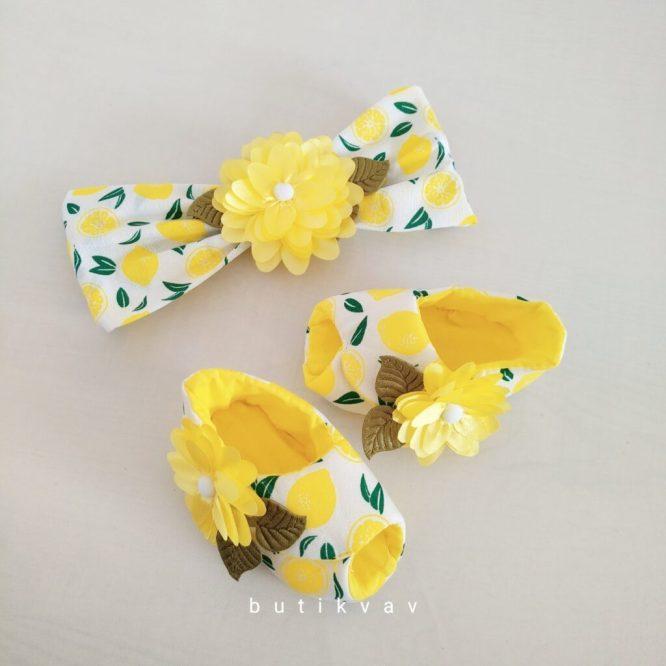 kiz bebek limonlu patik sac bandi seti 01 scaled - Kız Bebek Limonlu Patik & Saç Bandı Seti