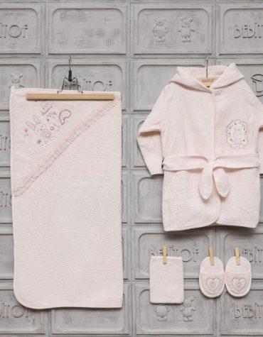 Bebitof Kız Bebek Gezideki İkizler Bornoz Seti Pembe Kopya 01 scaled - Bebitof Kız Bebek Dantelli Tavşan  Bornoz Seti - Pembe