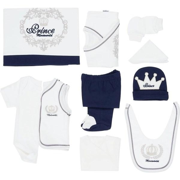 Miniworld Prens Taç İşlemeli Erkek Bebek 10lu Hastane Çıkışı 01 - Miniworld Prens Taç İşlemeli Erkek Bebek 10'lu Hastane Çıkışı